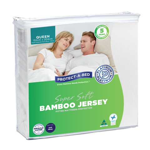 Bamboo Jersey Fitted Waterproof Mattress available at The Back and Neck Bed Shop in Perth