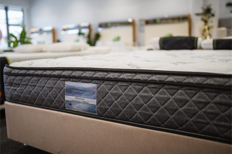 Closeup of the Slumbercare Morpheus Medium Mattress available online and in-store at The Back and Neck Bed Shop