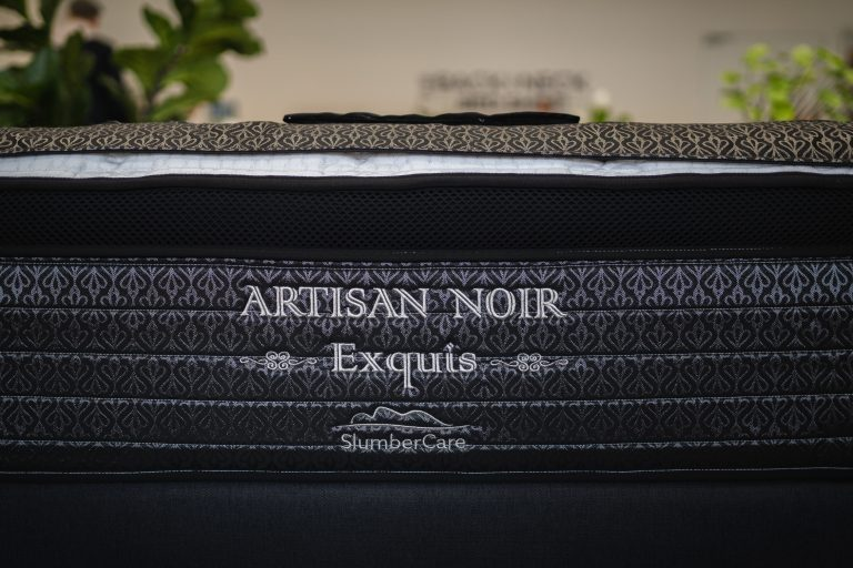 Side stitching of the Slumbercorp Artisan Series Exquis Mattress available online and in-store at The Back and Neck Bed Shop