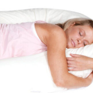 Woman using the CuddleUp Body Pillow available online and in-store at The Back and Neck Bed Shop
