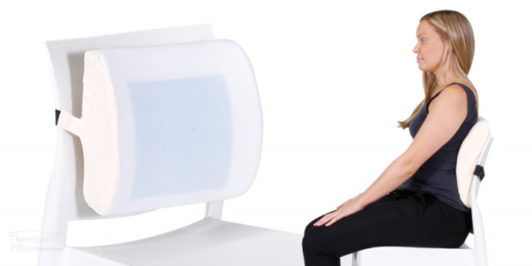 Woman using the MemoGel Back Support cushion available online or in-store at The Back and Neck Bed Shop
