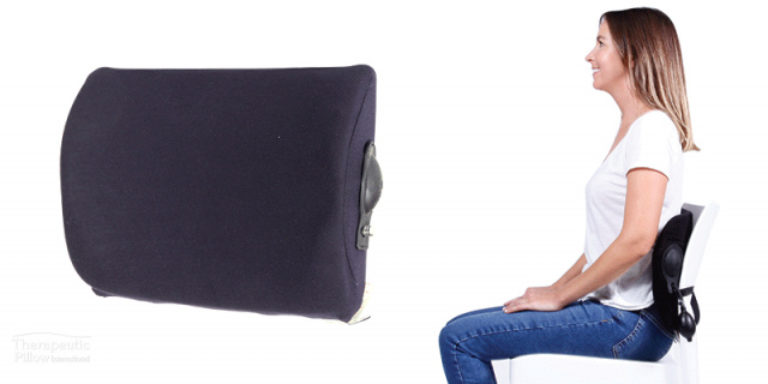 Woman using the Koala Komfort Back Support Chair Cushion available online or in-store at The Back and Neck Bed Shop