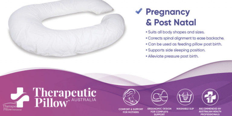 Therapeutic Pillow Australia's Pregnancy and Post Natal benefits graphics for the CuddleUp Body Pillow available online and in-store at The Back and Neck Bed Shop