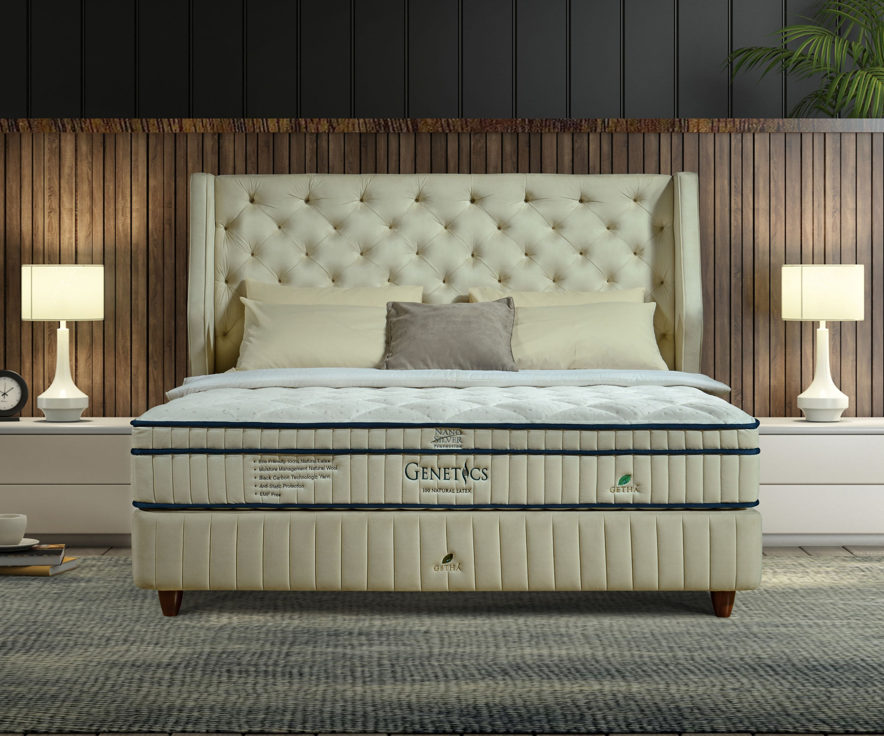 Bed with a Genetics Natural Latex Mattress