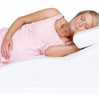 pregnant woman lying on a side reliever wedge body pillow