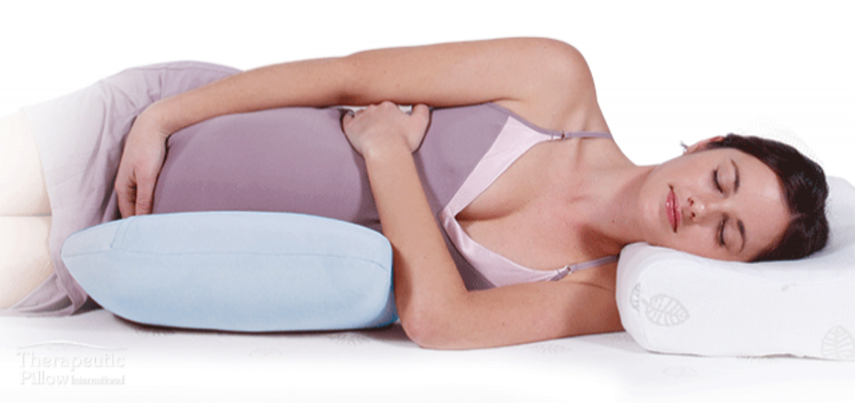Pregnant Woman with Tummy Snuggler Pregnancy Body Pillow