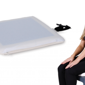 woman seating on a stool with a Memo Gel seat cushion